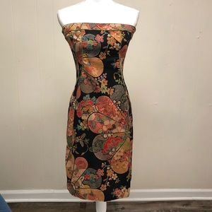 Beautiful Print strapless 100% cotton dress